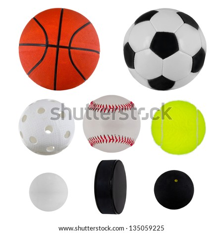 Sport balls collection over white - stock photo