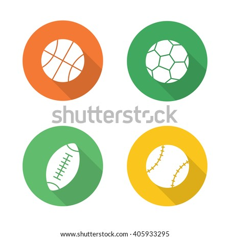 Sport balls flat design icons set. Basketball, soccer, baseball, american football or rugby long shadow logo concepts. Active, team play games pictograms. White silhouette illustrations. Raster