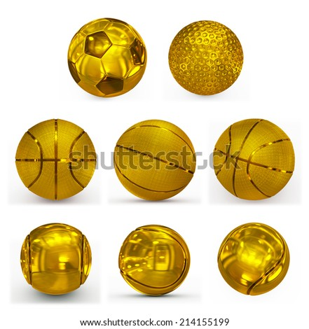 sport balls golden collection - stock photo