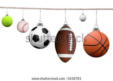 Sport balls hanging on a clothesline isolated on white - stock photo