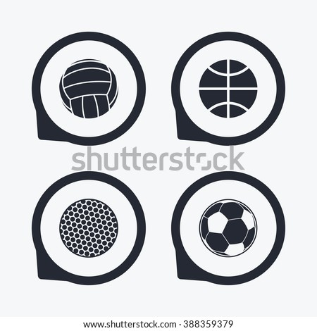 Sport balls icons. Volleyball, Basketball, Soccer and Golf signs. Team sport games. Flat icon pointers.