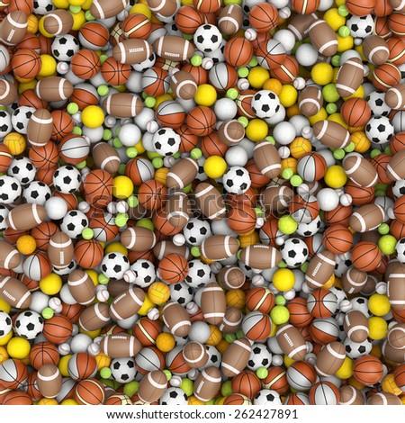 Sport balls on the floor - stock photo