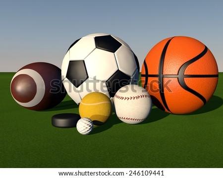 Sport balls over green grass field, 3d render - stock photo