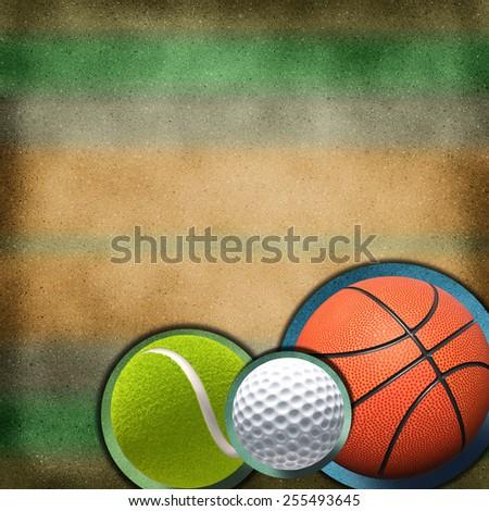 sport balls over grunge background - stock photo