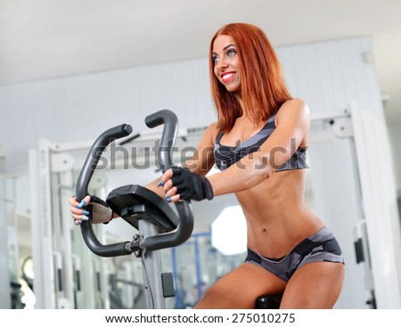 sport biking in the gym  - stock photo