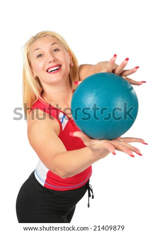 Sport blond makes exercise with ball - stock photo