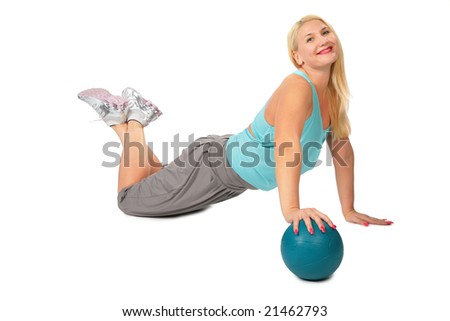 Sport blonde with ball - stock photo