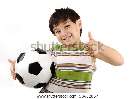 Sport boy, football thumb up! - stock photo