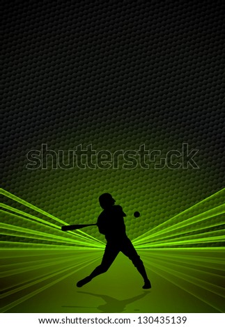 Sport business poster: Baseball player background with space - stock photo
