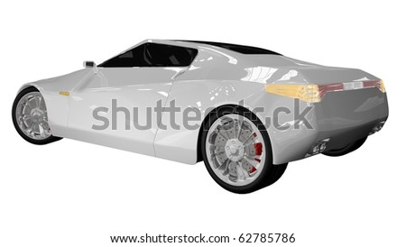 Sport car - back side view - stock photo