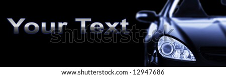 Sport Car Banner on Black Background - Place for your own text - stock photo