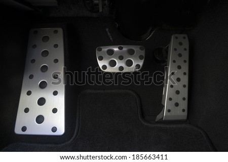 Sport car chrome pedals - stock photo
