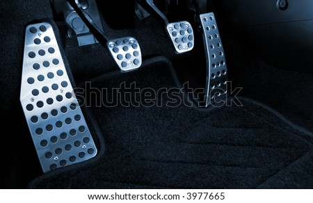 Sport car chrome pedals (toned in blue) - stock photo