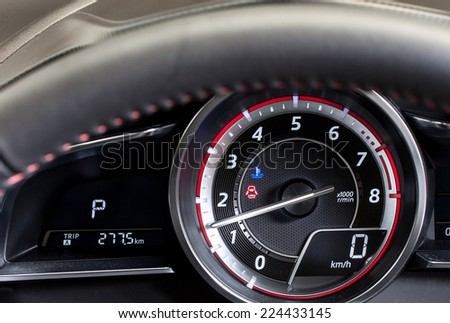 sport car dash board - stock photo