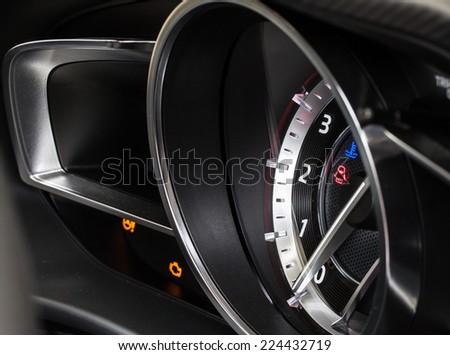 sport car dashboard - stock photo