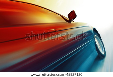 Sport car in motion on icy road - stock photo