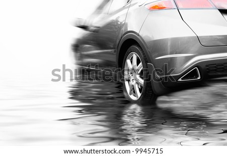 Sport car in rendered water - stock photo