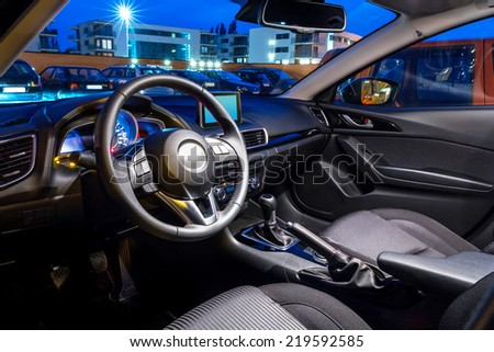 Sport car interior - stock photo