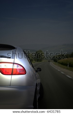 Sport car on the highway - stock photo