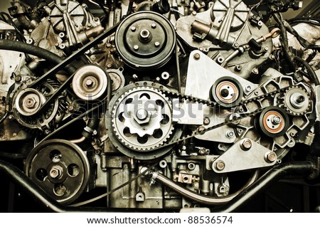 Sport car's engine - stock photo