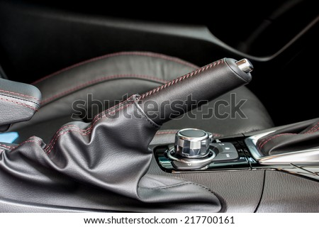 sport car's hand break - stock photo