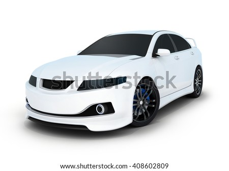 Sport car white and black (done in 3d) - stock photo