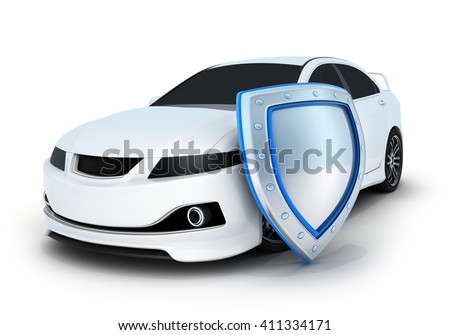 Sport car white and shield (done in 3d) - stock photo