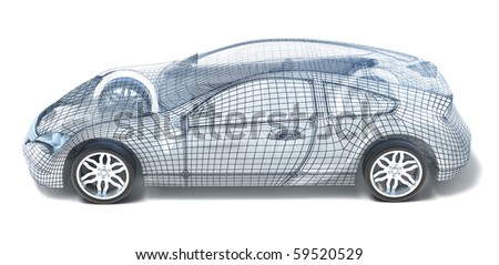 Sport Car Wireframe. Left view.  My own design - stock photo