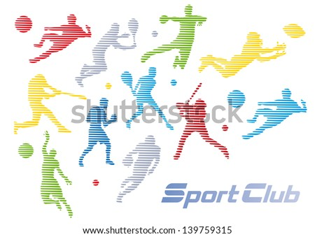 Sport club, Background with Different sports, stylized images of players - stock photo
