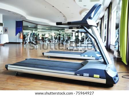 sport club gym, empty of people - stock photo