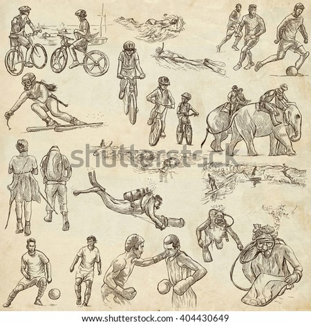 SPORT. Collection of an hand drawn illustrations. Description, Full sized hand drawn illustrations - freehand sketches. Drawings on old paper background.