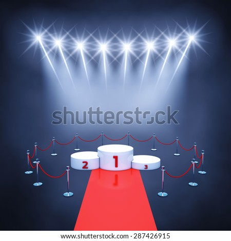 Sport competition event podium , red carpet and spotlights , Winner's podium , Award ceremony - stock photo