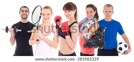 sport concept - bodybuilder, female tennis player, woman in boxer gloves, roller and soccer player isolated on white background - stock photo