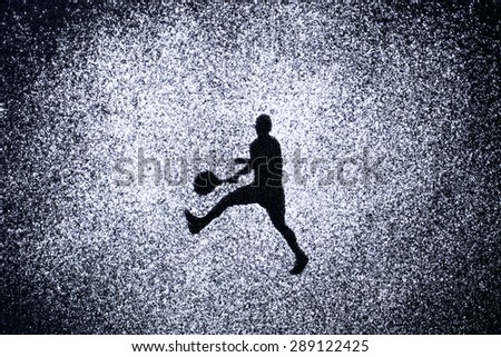 sport concept, shape of man in action by powder. Part of a tennis series - stock photo