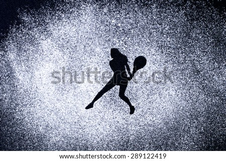 sport concept, shape of woman in action by powder. Part of a tennis series - stock photo