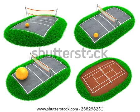 Sport Concepts - Set of 3D Tennis Court and Volleyball Field. - stock photo