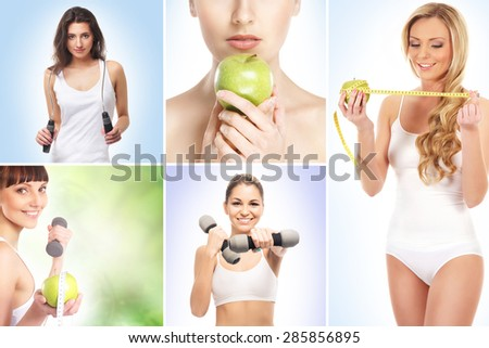 Sport, dieting, fitness and healthy eating concept - stock photo