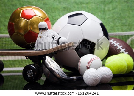 Sport Equipment, a lot of balls and stuff - stock photo