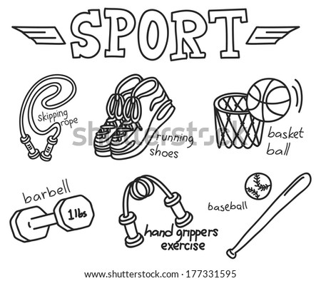 sport equipment doodle isolated on white background
