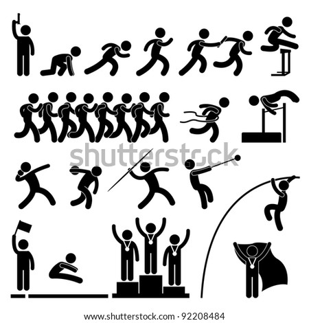 Sport Field Track Game Athletic Event Stock Vector 92208475 ...