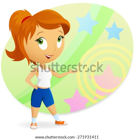 Sport fitness cartoon girl with abstract background illustration - stock photo