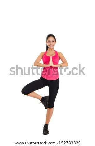sport fitness woman acrobatics gymnastic, young healthy girl doing dance stretching exercises, full length portrait isolated over white background - stock photo