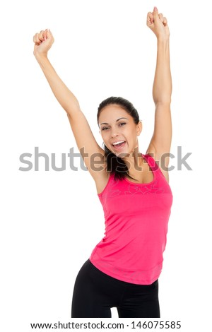 sport fitness woman excited happy smile hold raised arm hand up, young healthy smile girl perfect figure slim body isolated over white background
