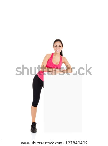 sport fitness woman hold blank board advertisement with empty copy space, young healthy smile girl athletic muscle body, perfect figure isolated over white background