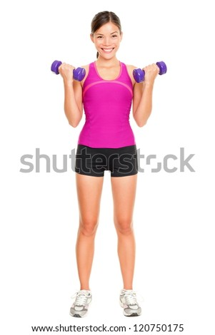 Sport fitness woman standing in full body. Fitness instructor standing holding dumbbell hand weights isolated on white background in studio. Beautiful young mixed race Asian Caucasian fitness model. - stock photo