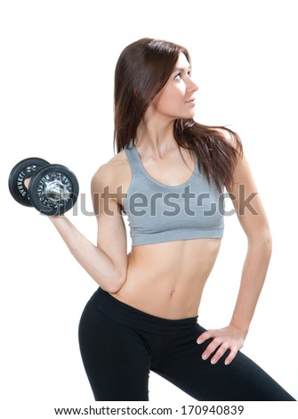 Sport fitness woman with dumbbell working out isolated on a white background - stock photo