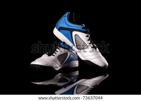 Sport footwear. Soccer boots. Close up, nobody. - stock photo