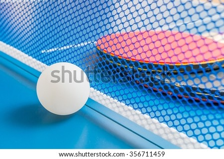 Sport game concept. Ball and rackets for ping pong.