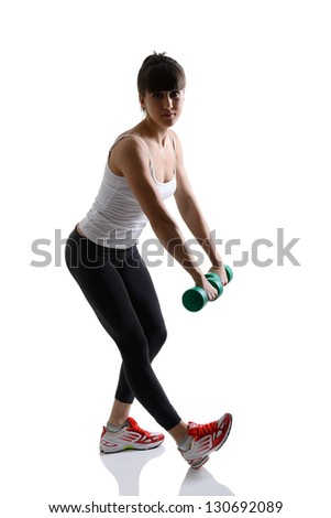 sport girl doing with exercise dumbbells, fitness woman studio shot in silhouette technique over white background