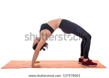Sport girl doing yoga isolated on white background